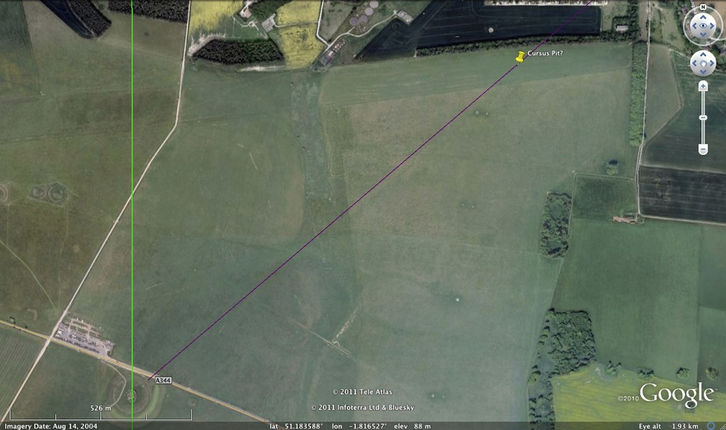 Google Earth view of where a Cursus pit ought to be (roughly) to mark summer solstice sunrise as seen from the Heelstone along Lockyer's azimuth.