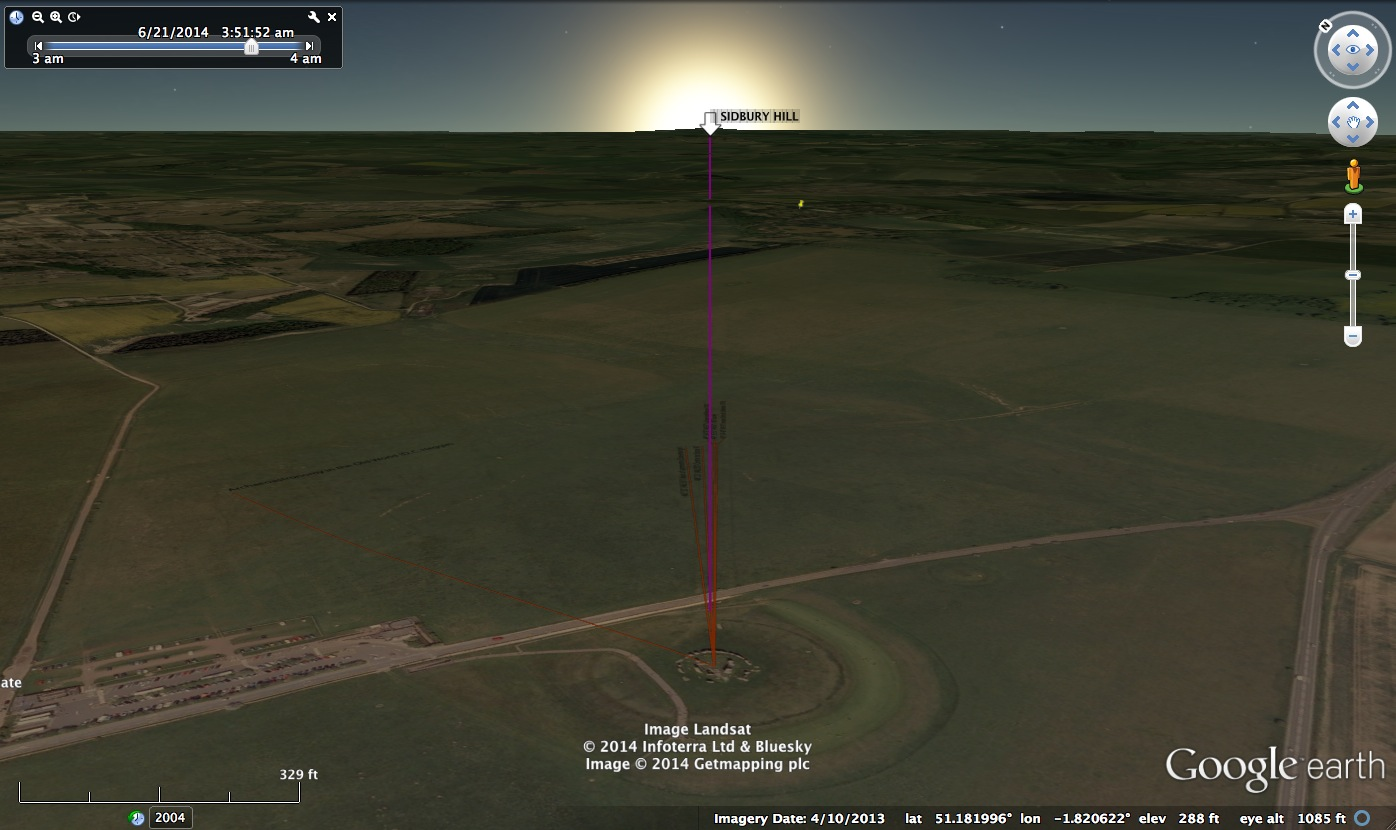 Oblique view Lockyer's Azimuth from Stonehenge