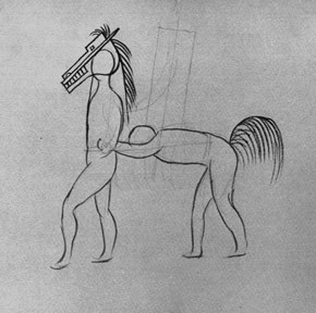 Pantomime Horse Studies for Parade, 1917